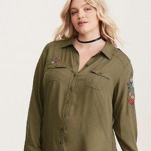 Torrid Plus 18W  20W Army Green SHIRT Embroidery